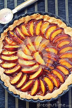 Photo about Nectarines tart in a metal tray on a table. Image of food, metal, delicious - 26207758 Metal Trays, Recipe Images, Cakes And More, Apple Pie, A Table, Sweet, Desserts, Food, Mint