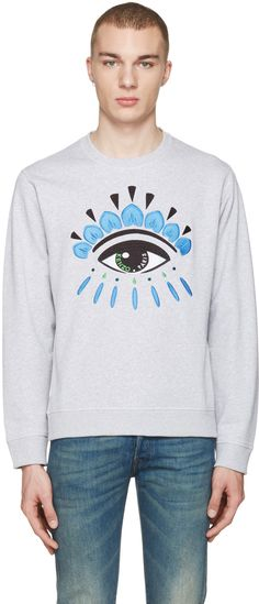 KENZO Grey Eye Pullover. #kenzo #cloth #pullover