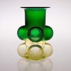 "NANNY STILL - Glass vase ""Pajazzo"" designed 1971 for Riihimäen Lasi Oy, in production Finland. Glass Design, Design Art, Flower Vases, Flower Arrangements, Tallit, Bukowski, Finland, Modern Contemporary, Flower Power"