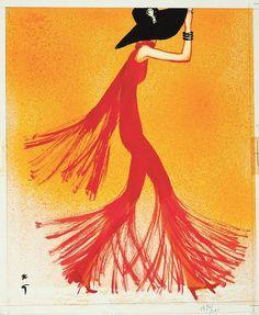 rené gruau (1909-2004) lady in red