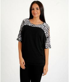Woman's Stylish Black Animal Print Open ShouldersTop - CLOTHING