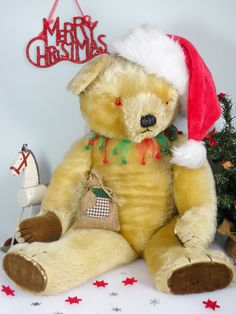 """Pudding a chubby 26"""" Chad Valley bear    C1950/60  www.onceuponatimebears.co.uk"""