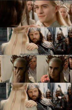 hahahaha Thranduil having second thoughts about Lego's friendhip with Aragorn - relax my king and let this bromance bloom (pun intended:)<<<<I'm dying!!