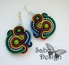 CUZCO -  soutache earrings, handmade, embroidered in black, red, yellow, green, blue satin strips, TOHO, oaak.. $44.00, via Etsy.