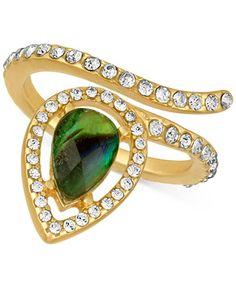 RACHEL Rachel Roy Gold-Tone Abalone-Look and Pavé Wrap Ring