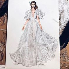 Fashion Illustration Sketches, Fashion Sketchbook, Fashion Sketches, Arabian Art, Fashion Design Drawings, Quilling Patterns, Designs To Draw, Les Oeuvres, Trendy Outfits