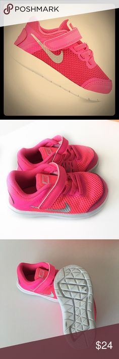 Nike Flex Run Sneakers In Excellent Shape!! Soft flexible sole. Still have Original Box also. They are pink blast with metallic silver. Super cute and bright. People will definitely notice these cute little shoes, my daughter had tons of complements. Nike Shoes Sneakers
