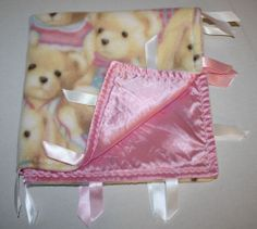 "Teddy Bear security blanket girl pink satin fleece soft ribbon tags 21"" Handmade #TeddyBearBlanket #Tags #SatinBlanket #FleeceBlanket #SecurityBlanket"