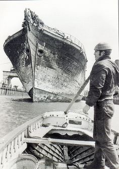 s.s. Great Britain 1970, Bristol's Floating Harbour seen here being brought into the City Harbour prior to its restoration.