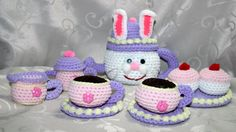 Rabbit Tea Set by HazelCrochet on Etsy Tea Set, Rabbit, Baby Shoes, Slippers, Buy And Sell, Crochet, Kids, Handmade, Stuff To Buy