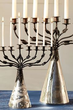 Beautiful mercury glass menorah.
