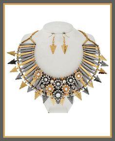 Tri-Tone Spike Necklace