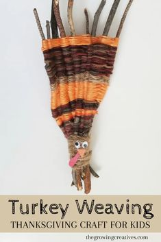 Thanksgiving Craft for Kids: Turkey Weaving Thanksgiving Activities For Kids, Autumn Activities, Easy Crafts For Kids, Toddler Crafts, Thanksgiving Decorations, Preschool Crafts, Projects For Kids, Craft Projects, Thanksgiving Turkey