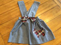 Rare Size 3 4 toddler Girl vintage Jumper Dress tunic top - Scottie Dog Puppy - Scootish Terrier - back to school - preppy -  Novelty