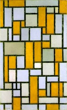 """De Stijl Movement: Piet Mondrian  """"Proponents of De Stijl advocated pure abstraction and universality by a reduction to the essentials of form and colour; they simplified visual compositions to the vertical and horizontal directions, and used only primary colors along with black and white."""""""
