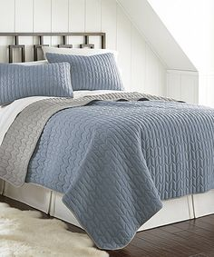 Look what I found on #zulily! Denim & Silver Chevron Reversible Quilted Coverlet Set #zulilyfinds