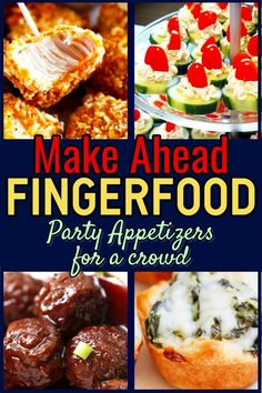 Fingerfood Party Appetizers-Make Ahead Appetizers for a Crowd You Can Make the Night Before … Simple appetizer recipes for entertaining or parties – awesome dips, slow cooker appetizer recipes and more appetizers you can make ahead. Slow Cooker Appetizers, Appetizers For A Crowd, Finger Food Appetizers, Easy Appetizer Recipes, Healthy Appetizers, Food For A Crowd, Appetizer Ideas, Mini Appetizers, Easy Holiday Appetizers