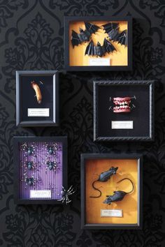 Create your own super scary wall art by pinning Halloween props inside shadow boxes.