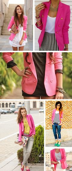 Hot Pink Blazer Looks; need to find a pink blazer! Blazers Rosa, Hot Pink Blazers, Ropa Color Pastel, Mode Style, Style Me, Look Blazer, Look Fashion, Womens Fashion, Cooler Look
