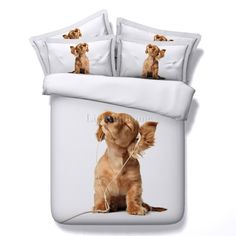 Music dog pet cartoon printed bedding set sheet queen king size more bedclothes comforter kids bed cover sets King Size Duvet Covers, White Duvet Covers, Bed Duvet Covers, 3d Bedding Sets, Cute Bedding, Comforter Sets, Cotton Bedding, Bed Cover Sets, Blanket Cover