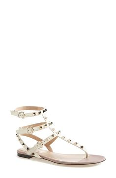 Valentino 'Rockstud' Leather Thong Sandal (Women) available at #Nordstrom
