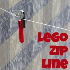 Make a Lego Zip Line with some string and a few pieces of Lego - fun! #kids #crafts #Lego