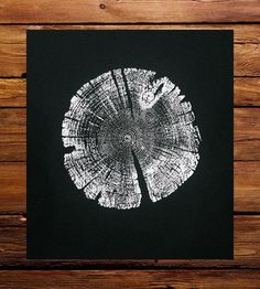 Black Lodgepole Pine Tree Ring Art Print by LintonArt available at Scoutmob now. The place to get inspired goods by local makers.