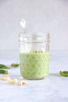 This easy 5-minute vegan cashew basil dressing, sauce, or dip will soon become your new best friend. Ready in no time, it elevates your salads and roasted veggies, and you can even turn it into a vegan cashew basil pesto version to serve with your pasta. Easy, refreshing, nutritious, there are only good reasons to make it! #dressing #basildressing #sauce #salads #greengoddess #easysaladdressing Vegan Pesto, Basil Pesto, Sauce Pesto, Veggie Patties, Green Goddess Dressing, Vegan Baby, Raw Cashews, Cashew Butter, Vegetarian Cooking
