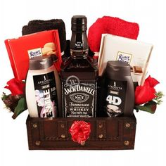 """""""Jack, My Man"""" gift collection to make a special day for any man. Together with Jack Daniels, we include a wooden treasure box that provides the perfect gift for the man in your life. Mens Valentines Day Gifts, Valentine's Day Gift Baskets, Sorry Gifts, Ritter Sport, Healthy People 2020, Budget Meals, Cute Gifts, Lose Weight, Healthy Recipes"""