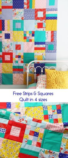 Strips and Squares, Free Quilt Pattern in 4 sizes