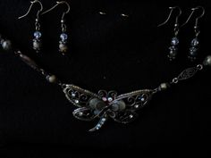 Bronze and turquoise butterfly necklace set