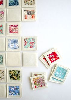 Fabric memory game - what a great idea for using up your fabric scraps! A possible idea for making inchies; I'll have to find the measurements as I've repinned this pin #inchies #sewing pattern