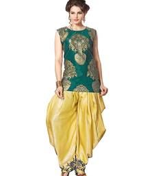 Buy Green and cream indo western dhoti pant and jacket indowestern online