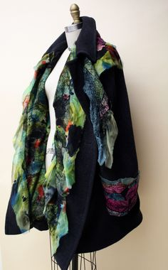 """This is the dream coat I imagined, created for me from my older Italian couture """"swing coat' and embellished and tailored by #Portland fiber artists Karin Graves and Maris Cavanaugh."""