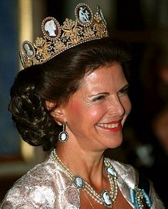 Queen Silvia, Queen consort of King Carl XVI Gustaf, wearing the Cameo Tiara, France (ca. 1811; made by Marie-Étienne Nitot; cameos, gold, pearls, seed pearls). Now owned by Sweden's royal family.