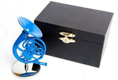 Blue French Horn Ornament with Stand In Case