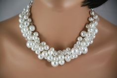 Bridal white pearl and crystal necklace- brides jewelry, wedding necklace, statement necklace