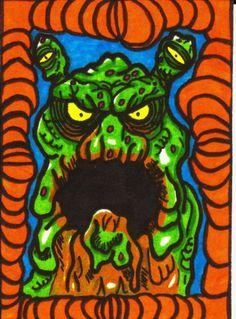 ACEO Original Slufffteet Horror Black Light Collectible Art Trading Card ATC #OutsiderArt #ebay #aceo #horror #UV