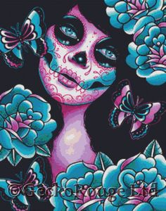 day of the dead princess bride counted cross by instantcrossstitch modern cross stitch kit memento by carissa rose needlecraft kit day