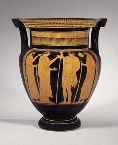 "Attic Red-Figured Column Krater Attributed to the Boreas Painter - X.0105  Origin: Mediterranean  Circa: 460 BC  Dimensions: 15.75"" (40.0cm) high  Collection: Classical  Medium: Terracotta"