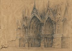 Reims Cathedral. 50x35cm