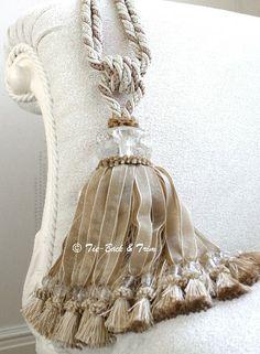 Mia Cut Glass Curtain Tassel Tie Backs - Natural - Product Detail - Tie Back and Trim Tassel Curtains, Velvet Curtains, Curtains With Blinds, Glass Curtain, Curtain Tie Backs, Beautiful Curtains, Passementerie, Fringe Trim, Tassels