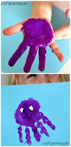 Handprint Octopus Craft for Kids - Fun art project for an ocean themed unit! #Summer | CraftyMorning.com