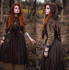 womens linen medieval Viking hooded mantle hood short cape capelet skjoldehamn inspired ready to ship-
