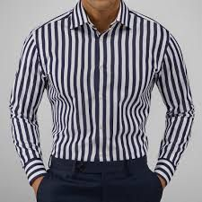 Shirt in poplin fabric printed with white navy stripes, cotton from John Henric. Our shirts in Happy Hour, Detachable Collar, Everyday Dresses, Navy Stripes, Smart Casual, Poplin Fabric, Size Model, Printing On Fabric, Stripes