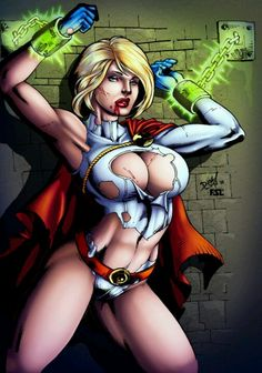 Power Girl chained to the wall with kryptonite chains.  Art by •David Lima