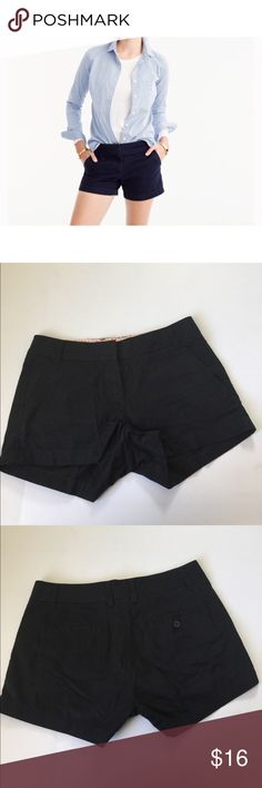 """J. Crew Black 3"""" Chino Shorts, size 2 J. Crew 3"""" Black Chino Shorts in size 2. Flat lay measure of the waist is approximately 15. Rise is approximately 8.25 and inseam is approximately 3. Made from 100% cotton. In overall very good condition, please look at all photos and ask if you have any questions. J. Crew Shorts"""
