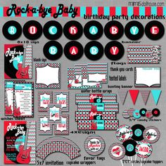 Rock and Roll Baby Shower Decorations- Printable Rocker Party Decorations PDF/JPEG- As seen on Pizzazzerie. $26.99, via Etsy.