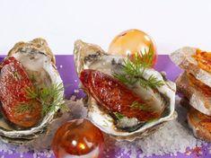 Découvrez la recette Huîtres au chorizo sur cuisineactuelle.fr. Chorizo, Surf And Turf, Oysters, Baked Potato, Camembert Cheese, Seafood, Potatoes, Baking, Breakfast