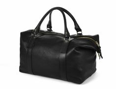 The Captain's Holdall in black.   The Captain's Holdall is made from full grain saddlery leather, and is an ideal size for weekends away.